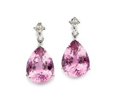 Pair of Kunzite and Diamond Pendant-Earrings   18 kt. white gold, topped by 2 octagon-cut and 2 round diamonds approximately 1.60 cts., suspending 2 pear-shaped kunzites approximately 19.00 cts.