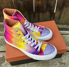 d929100971b6 Rainbow Converse High Top MISSONI Multicolor Pride Knit crochet Custom w   Swarovski Crystal Rhinestone Chuck Taylor All Star Sneakers Shoe
