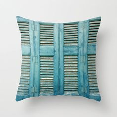 Teal Shutters pillow cover doors windows teal blue muted by aeolia