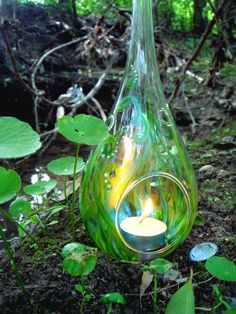 Fairy Lantern - Tea Light Votive in Fairy Garden Design - Whimsical votives to illuminate your home. $34.00, via Etsy.