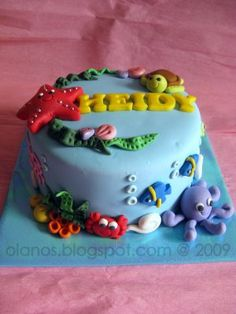 Super cute turtle, fish, bubbles & Octopus. Olanos: Under The Sea Birthday Cake