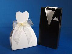 Tuxedo and wedding dress favours