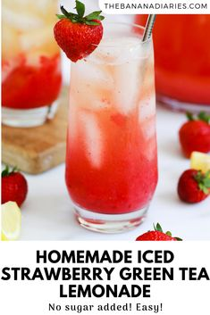 The most refreshing iced strawberry green tea lemonade, made with whole and simple ingredients! Sweetened only with strawberries, it's completely refined sugar free and so easy! Green Tea Lemonade, Green Tea Drinks, Summer Drinks, Lemonade Tea Recipe, Green Teas, Green Tea Recipes, Iced Tea Recipes, Healthy Dessert Recipes, Healthy Drinks