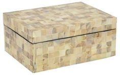 "8"" Tiled Wood Box, Tan"