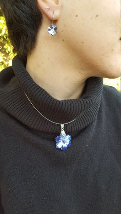 Faceted Blue Snowflake Necklace and Earrings by ValeriesVanityMirror on Etsy