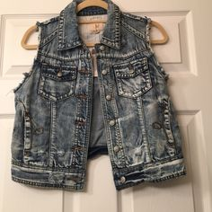 Denim vest Cute denim vest new with tags Lost Tops
