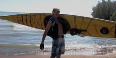Dennis Kalichuk with the Current Designs Extreme sea kayak, on Lake Erie at Port Stanley, Ontario, Canada.