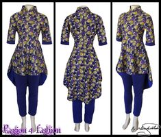2 piece purple and mustard yellow traditional outfit, purple pants with a peplum top. African Style, African Fashion, Detox Baths, Chinese Collar, Purple Pants, Mustard Yellow, Traditional Outfits, Dress Making, Custom Made