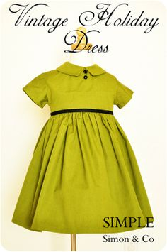 Links to several darling tutorials, including this vintage holiday dress tutorial