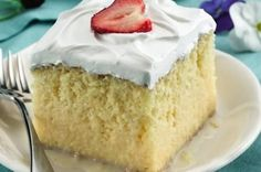 """Mexican Dessert Recipes Discover Tres Leches Cake Three forms of leche or """"milk"""" are poured over a baked cake to create its signature indulgence. Cake mix and ready-to-spread frosting make it easy. Dessert Cake Recipes, Köstliche Desserts, Delicious Desserts, Party Recipes, Dessert Healthy, Tres Leches Recipe, Tres Leches Cake Recipe Betty Crocker, Let Them Eat Cake, Scones"""