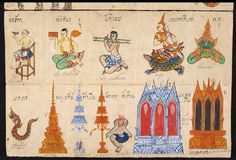 Date 19th century Title Phrommachat พรหมชาติ Content A horoscope with coloured drawings showing the twelve years of the animal cycle calendar in two series.Illustrations: 28 pages with coloured illustrations. Languages Thai Physical Description Materials: Paper folding book (samut khoi) Dimensions: 355 mm x 117 mm Script: 5 lines per side, 31 cm long. Thai script. British Library (Or.13650, f 4r)