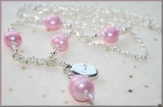 Stamped Inspirational Charm Silver Lariat Necklace with PINK Cultured Pearls and Crystals