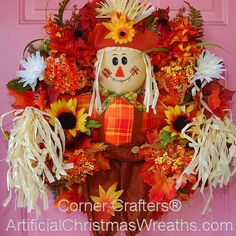 HELLO FALL SCARECROW WREATH   ArtificialChristmasWreaths.com   FALL WREATHS   DECORATIONS