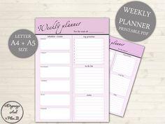 Weekly Planner Printable - Weekly Schedule - A4 & A5 Weekly Planner - Office Schedule Printable - Work Planner - Week Layout #102 by OrganizeAndPlanIt on Etsy https://www.etsy.com/listing/266189392/weekly-planner-printable-weekly-schedule
