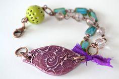 Boho Purple Bracelet  Bohemian Bracelet enamel bead by ArtIncendi, $28.50