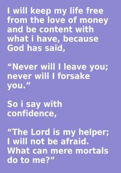Daily Meditation ::  Hebrews 13:5-6