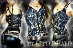 One of a kind bleach/paint studded top by My Little Halo