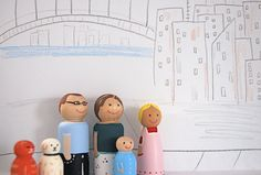 Wood doll family