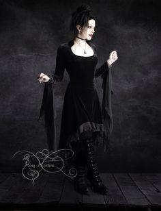 Circee Romantic Gothic Dress in Black Velvet - Dark Romantic Couture and Fairy…