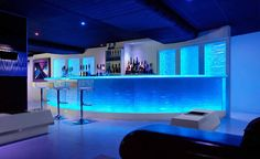 Design Ideas, Awesome Bar Designs With Blue Light Idea For Romantic Room Decor: Cool Bar Designs in Various Ideas and Styles Lounge Design, Bar Lounge, Hookah Lounge, Modern Home Bar Designs, Home Bar Rooms, Nightclub Design, Nightclub Bar, Contemporary Bar, Bar Lighting