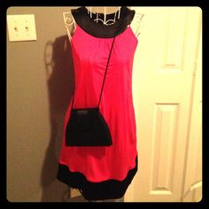 """Selling this """"Express Hot Pink and Black Dress"""" in my Poshmark closet! My username is: sunny82985. #shopmycloset #poshmark #fashion #shopping #style #forsale #Express #Dresses & Skirts"""