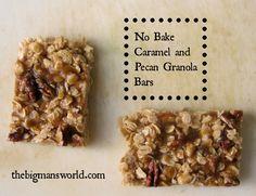 Healthy no-bake Caramel Pecan Granola Bars #recipe #FitFluential