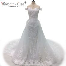 VARBOO_ELSA vestido de noiva High Quality Elegant Wedding Dress White Lace Beaded Mermaid Bridal Dress Custom Detachable Train(China)
