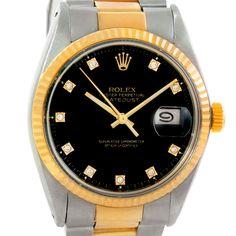 Rolex Datejust Vintage Mens Steel 18K Yellow Gold Watch 16013