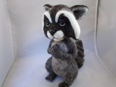 Raccoon needle felted soft by grannancan on Etsy