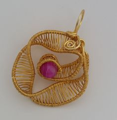 Pink Agate, Wire Wrapped Rose Pendant, Gold Plated, Gift for Her, Genuine Agate, FlowerPendant, Birthday, Evening Jewellery, Healing Crystal by Gemhance on Etsy