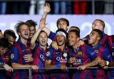 Neymar (C) of Barcelona leads the celebrations with team mates after the UEFA Champions League Final between Juventus and FC Barcelona at Olympiastadion on June 2015 in Berlin, Germany. Barcelona Futbol Club, Fc Barcelona, Neymar Pic, Political Status, Don Juan, Professional Football, Uefa Champions League, Finals, Soccer