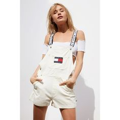 Tommy Jeans '90s Shortall Overall ($159) ❤ liked on Polyvore featuring jumpsuits, short bib overalls, strappy jumpsuit, white overalls, white short overalls and white jumpsuit