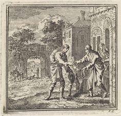 Jan Luyken | Reiziger wordt hartelijk ontvangen door bewoners van een dorp, Jan Luyken, wed. Pieter Arentsz & Cornelis van der Sys (II), 1711 |
