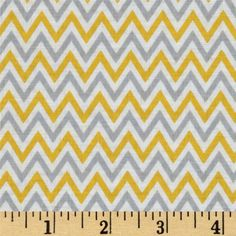 Fox Playground Chevron Yellow from @fabricdotcom  Designed by Dena Designs for Free Spirit, this cotton print is perfect for quilting, apparel and home decor accents.  Colors include white, grey and yellow.
