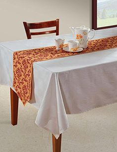 Indian Patterned Duck Cotton Table Runner  13 x 72 Inches  Orange and Red Damask *** Check this awesome product by going to the link at the image.Note:It is affiliate link to Amazon.