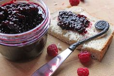 blackberry chambord jam.  Yummy!  I am going to make this with all the blackberries I have growing around here =)