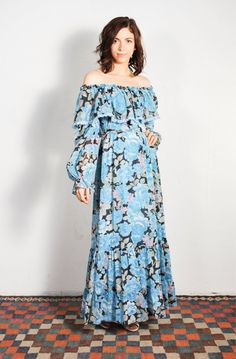 1970s Off Shoulder Watercolor Floral Candi Jones Maxi Dress // by UXCVintage