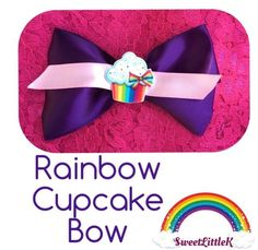 Perfect rainbow cupcake bow
