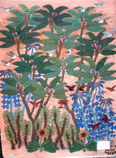 Frangipani by Mahrous Abdou X m Tapestry Weaving, Fabric Art, Palm Trees, Mythology, Egyptian, Folk Art, Art Projects, Walls, Textiles