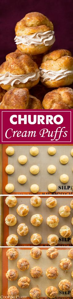 Churro Cream Puffs - Cooking Classy Churros meet cream puffs in this creative and delicious treat thought up by Barbara Schieving of Barbara Bakes. Fun Desserts, Delicious Desserts, Yummy Food, Mexican Food Recipes, Sweet Recipes, Mexican Desserts, Dinner Recipes, French Desserts, Drink Recipes
