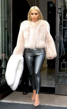 Kim Kardashian Shows Curves in Skintight Latex Leggings During Paris Fashion Week—See the Photos! Kim Kardashian