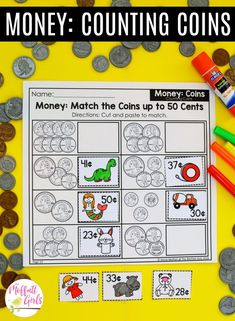 Money: Match the Coins up to 50 Cents- fun math centers and math worksheets to teach coins in First Grade!