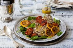 Grilled Bluefish with Caramelized Lemons on Baby Spinach