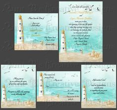 Lighthouse Wedding Invitation Lighthouse by AuntBsCreativeDesign