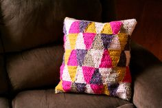 DIY - Geometric Crochet Pillow // Caught On A Whim Blog