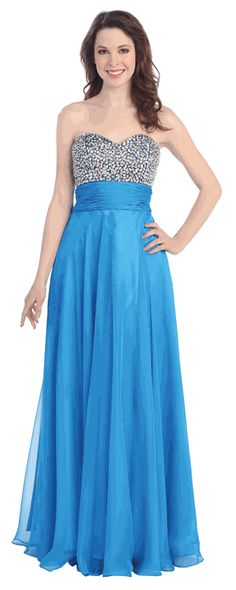 Strapless Glamorous Turquoise Evening Gown - Discountdressup.com