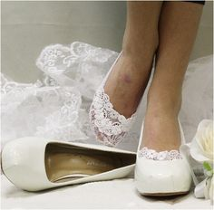 Feel like a Princess wearing our white lace wedding socks. White stretch lace sock hugs your foot, makes any shoe special: flat or heeled. What makes this white wedding lace boat sock special, is we a