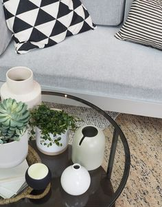 Methodical Monochrome interior: a window display for the IKEA Tottenham Court Road store [AD] - monochrome living space - IKEA Delaktig sofa by Tom Dixon - rattan furniture - plants in the home - cosy interior - storage ideas for small spaces - pax wardrobes Ikea