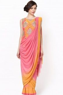 Double Shaded Drape Saree With Beautiful Embroidery On Yoke  Rs. 13,650