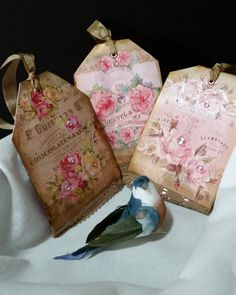 Delicate Rose Vintage Inspired Gift Tags (Set of 3) by Heartmadelinensgifts on Etsy
